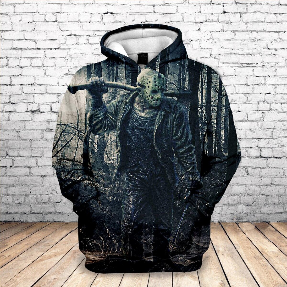 New 2019 Michael Myers Mask Meet Jason 3D Printed Sweatshirt Halloween Horror Movie Long Sleeve Streetwear Hoodies Drop Shipping