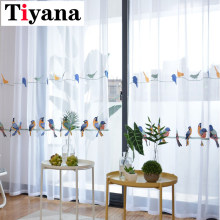 Embroidered Bird Design Cotton Linen Curtains For Living Room Bedroom White Tulle Sheer Curtain Window Drapes P432X(China)