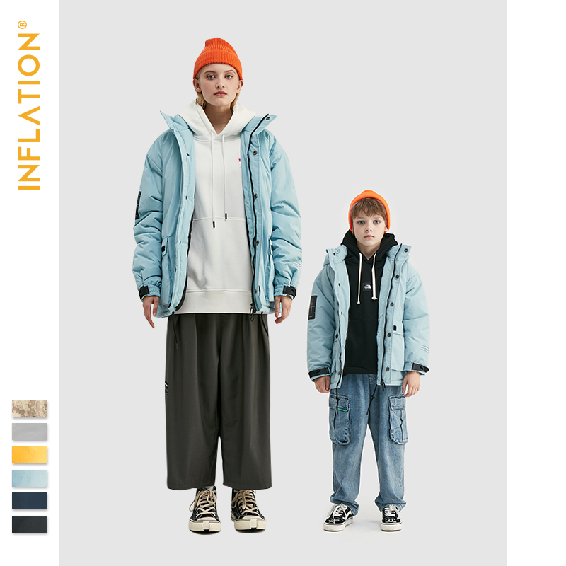 INFLATION Family Matching Outfits 2019 Winter Father & Son Warm Down Jacket Streetwear Windbreaker Solid Outwear Family Coat