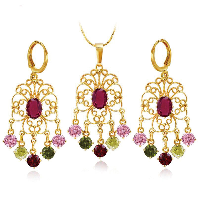 MxGxFam богемный цвет красный синий цвет красивые циркониевые серьги-подвески и ожерелье для женщин 24 k желтое золото Высокое качество