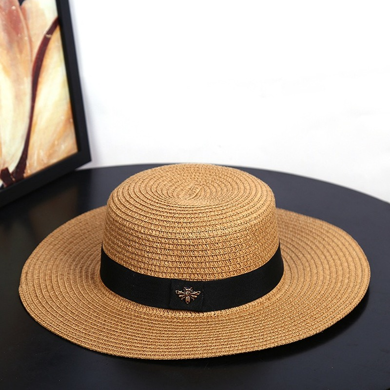 2019 New Sun Hat Small Bee Straw Hats Gold Braided Hat Female Loose Sunscreen Sunshade Flat Cap Visor Hat