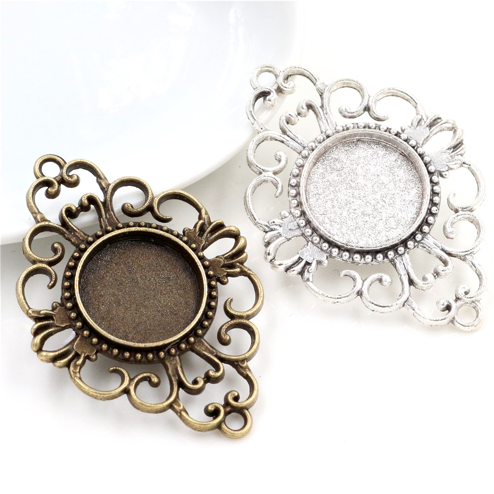 10pcs 18mm Inner Size Antique Bronze And Antique Silver Flower Connection Style Cabochon Base Cameo Setting Charms Pendant