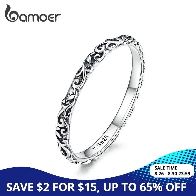 BAMOER Ring Fine-Jewelry Engraved-Pattern Tibetan 925-Sterling-Silver Black Small Unisex