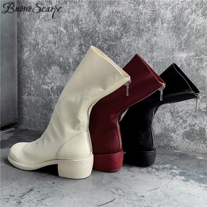 Image 4 - Buono Scarpe Genuine Leather Pleated Fashion Boots Brand Designed Zipper Boots Chunky Botas Fenimina Leather Shoes Zapatos Mujer