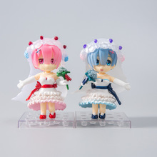 Anime Re Life In A Different World From Zero Remu Ramu Wedding Dress Ver PVC Action Figure Collectible Model doll toy 10cm 1 4 scale re life in a different world from zero rem ram bunny ver kneeling ver resin naked collection anime figures
