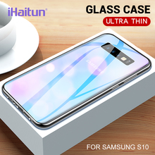 iHaitun Luxury Glass Case For Samsung S10 Plus S10e Cases Ultra Thin Transparent Back Cover Galaxy + Soft Edge