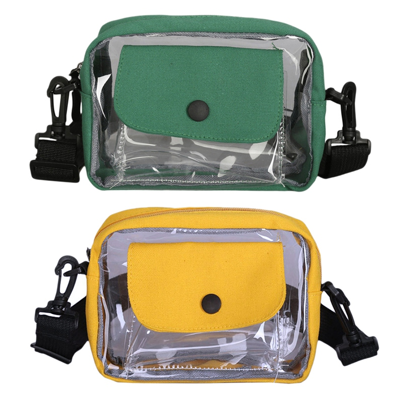 2 Pcs Women Transparent Versatile Messenger Bag Shoulder Fashion Bag Crossbody Bags For Women Transparent Jelly Bag , Yellow & G