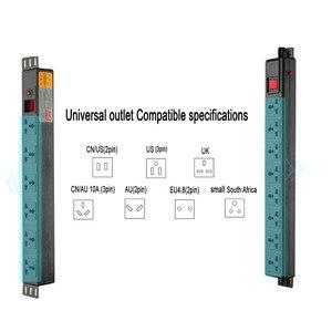 Image 3 - Tira de alimentação do armário de pdu com interruptor 6/8ac universal outlets proteção contra sobrecarga relâmpago extensão soquete 19 Polegada hight power
