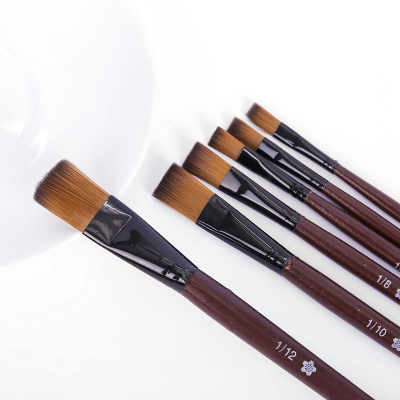 6Pcs Paint Brushes Artist Nylon Wooden Handle Watercolor Acrylic Oil Paint Brush Set For Drawing Painting Art Supplies