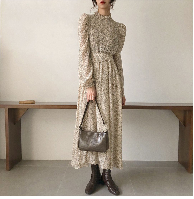 H3b9d3de2da98452dbc23fa50ab41db5f5 - Autumn Stand Collar Long Sleeves Waist-Controlled Floral Print Maxi Dress