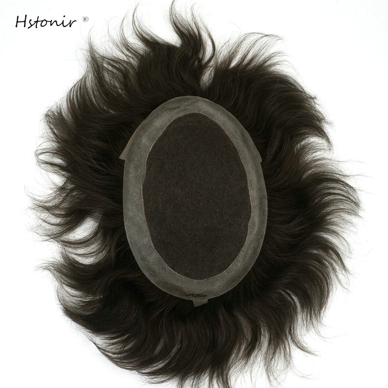 Hstonir Men Hairpiece Wig  Human Hair Indian Wigs Peruk Natural Hair Toupee Indian Remy Hair Swiss Lace Pu Coated H036