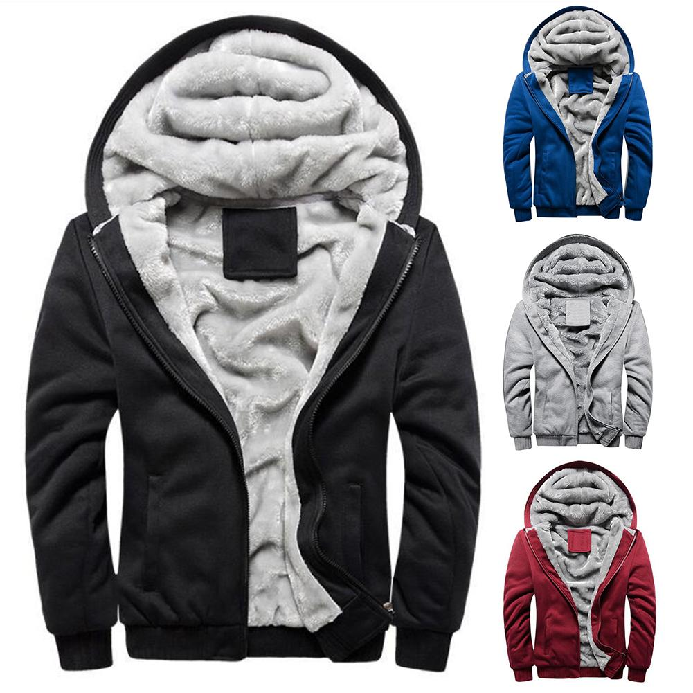 Fashion Plus Size Men Coat Jacket Plush Thicken Winter Warm Solid Color Hooded Long Sleeve Pockets Zip Up Coat Outwear Jacket
