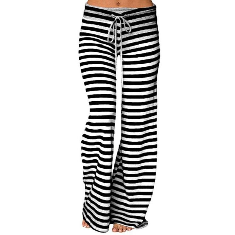 Женские свободные штаны размера плюс, повседневные полосатые Широкие штаны с завязками, женские модные длинные брюки, модные спортивные
