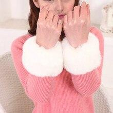 Женские меховые белые перчатки, новинка, зимняя ветрозащитная плюшевая манжета с длинным рукавом, эластичные напульсники, напульсники, перчатки для женщин