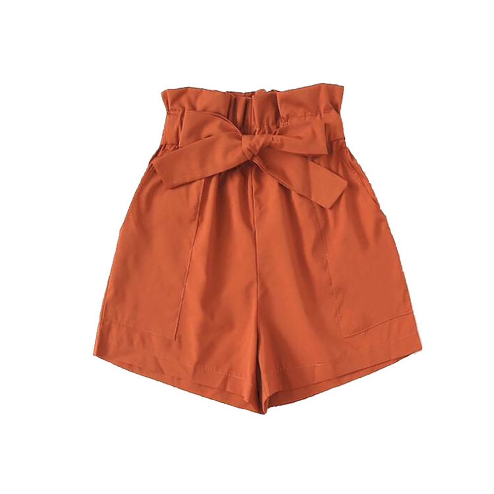 High Waist Casual Summer Ladies Loose Women Shorts Daily Office Lady With Belt Vintage Solid Fashion Sexy Soft Gift