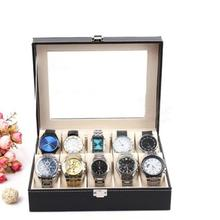 Faux Leather Watch Box Display Case Organizer Jewelry Storage Box 12 Slot Ring Earring Watch Watch Box Jewelry Display Cabinet R цена
