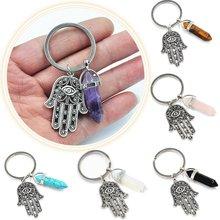 Mal de ojo de cristal de cuarzo Natural Punto de Chakra piedra gema piedra de cristal colgante llavero clave cadena accesorios regalos de familia