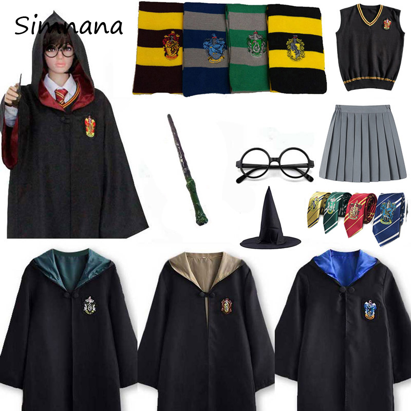 Cosplay Potter Costume Hermione Granger Skirt Anime Slytherin Gryffindor Costume Robe Cloak Cape With Tie Scarf Wand Adult Kids