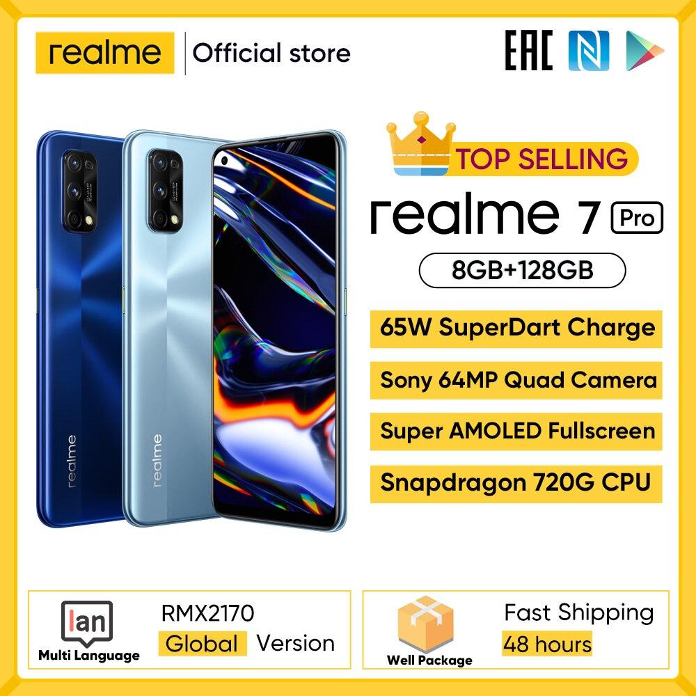Realme 7 Pro глобальная версия смартфона 65 Вт Быстрая зарядка отпечатков пальцев разблокированная полный экран мобильного телефона Snapgragon 720 г иг...