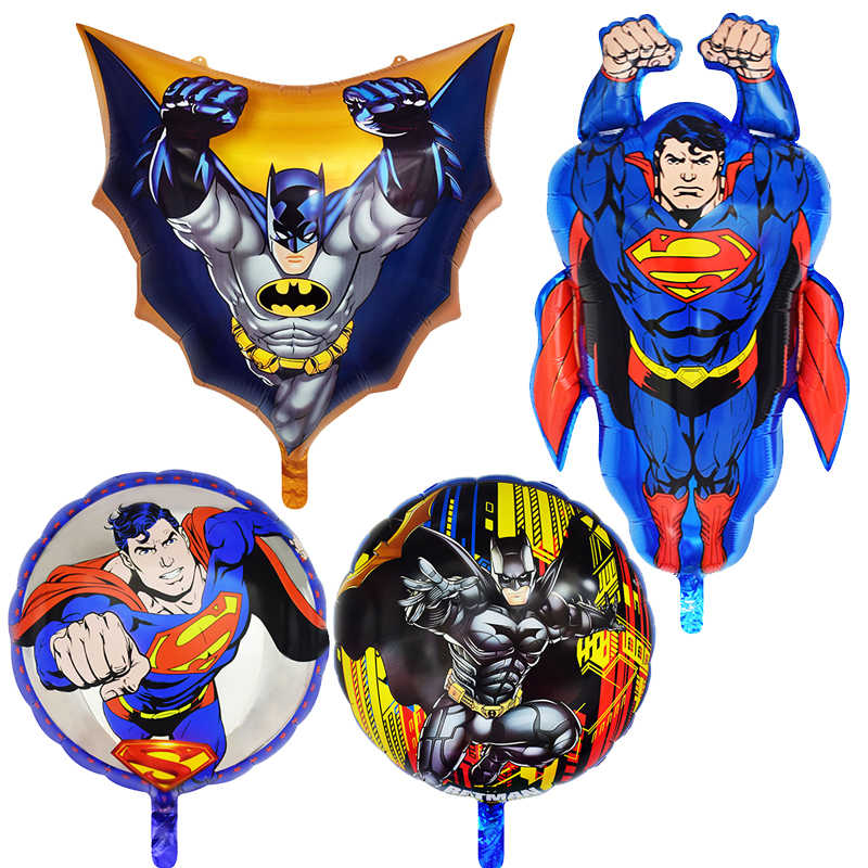 1Pc Superman Batman Aluminum Balloon Hero Series Birthday Party Decorations Kids Globos Baby Shower Boy Aniversario