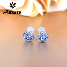 ANI 18K Solid White Gold (AU750) Women Engagement Stud Earrings Certified Round Real Natural Diamond Earring Fashion Design