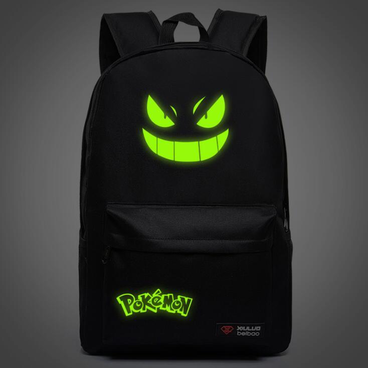 Luminous Backpack Pokemon Go Printing Backpack Laptop Travel Book School Bag Nylon Rucksack For Students Glow In The Dark