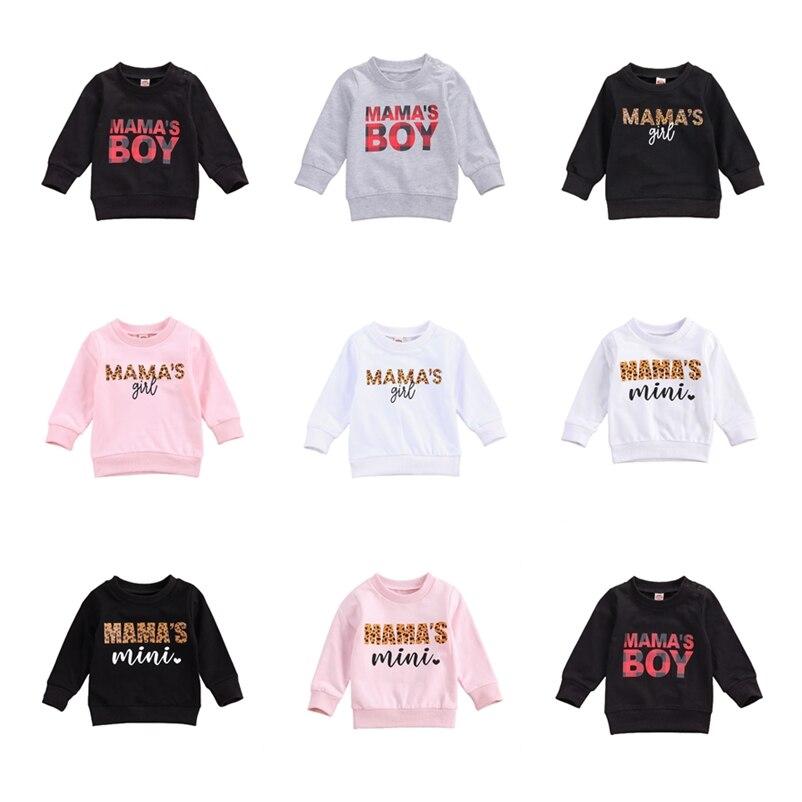 Newborn Baby Boy Girls Sweatshirts Infant Fashion Hiphop Tee Long Sleeve O-neck Tops 2020 New Autumn Mama's Boy Print Sweatshirt