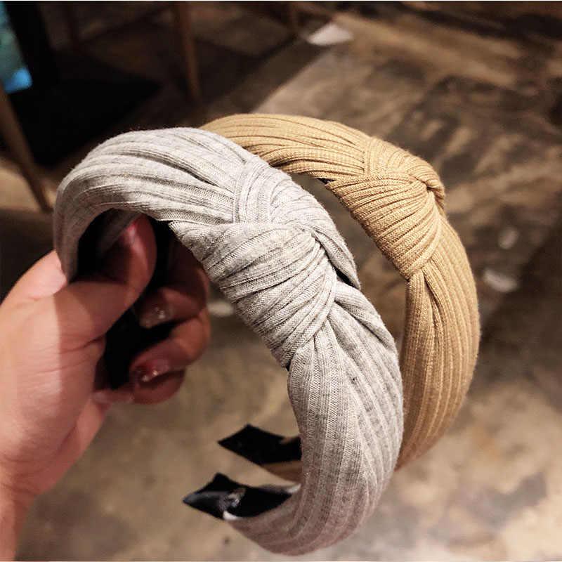 Модные женские туфли; элегантные однотонные бант с головными повязками высокое качество повязки на голову, повязки для волос, для девочек полосы орнамент Головные Уборы Женские аксессуары для волос