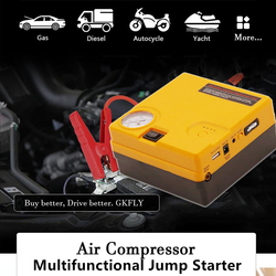 Gkfly Auto Jump Starter Luchtpomp Nood Uitgangspunt Apparaat Kabels Draagbare Auto Batterij Booster 12V Oplader Voor Benzine Diesel auto