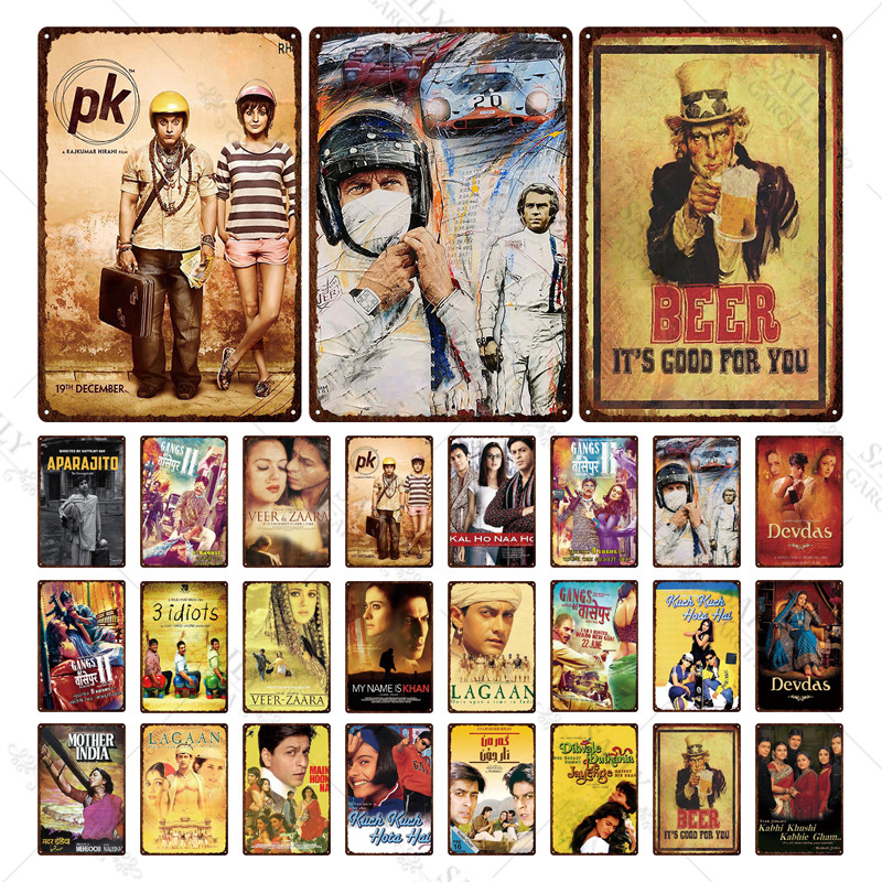 Bollywood Metal Poster Plaque Vintage Metal Famous Indian Movies Sign Tin Sign Wall Decor For Room Garage Iron Painting Flash Sale C14a12 Cicig