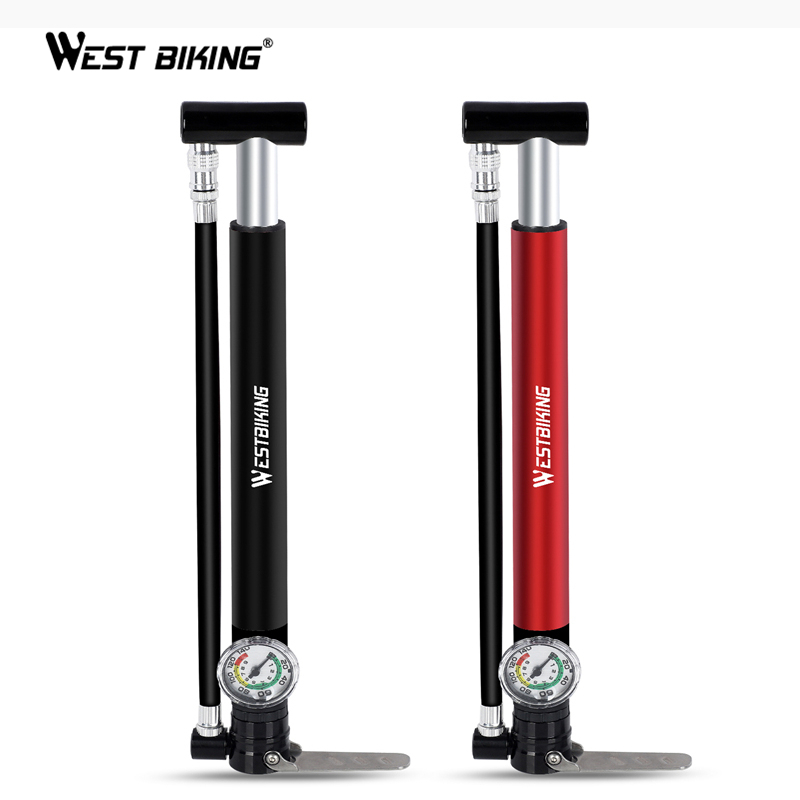 WEST BIKING Alloy Bicycle Pump Hose Gauge Hand Foot Floor Bike Tire Pump 130PSI Cycling Air Inflator Presta Schrader Valve Pump