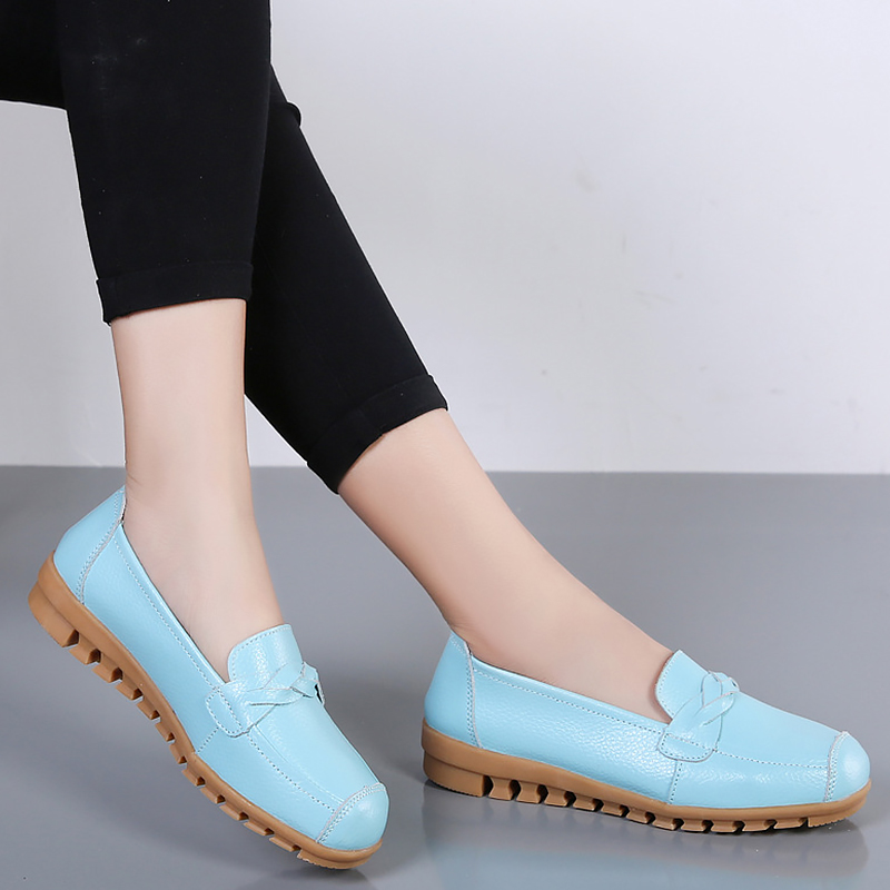 Cheap Women's Flat shoes Genuine Leather Sewing Ladies loafers Soft Non slip Wear-resistant Moccasin shoes women Flats Superstar