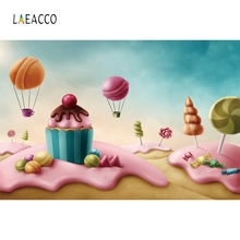 Laeacco Candy World Photocall Photography Backdrops Personalized Cartoon Cake Baby Photographic Backgrounds For Photo Studio