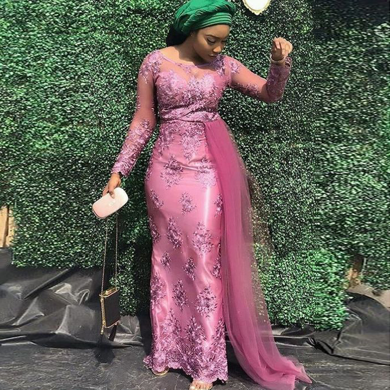 US $117.45 13% OFF|African Black Women Evening Gown Formal Dress Plus Size  Aso Ebi Nigeria Plus Size Prom Party Dresses Mermaid Long Sleeve Lace-in ...