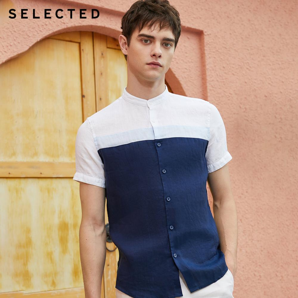 SELECTED Men's Linen Assorted Colors Stitching Business Casual Short-sleeved Shirt S|419204520