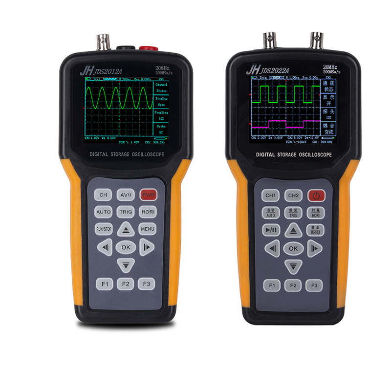 Mini portable digital oscilloscope 2 Channels 20MHz Handheld Oscilloscope with multimeter Features oscilloscope JH DS2012A/2022A