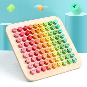цена Montessori Educational Wooden Toys for Children Baby Toys 99 Multiplication Table Math Arithmetic Teaching Aids(dropshiping) онлайн в 2017 году