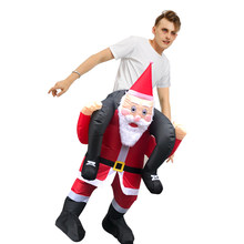 Santa Ride on Me Costume Infltable Santa Claus Carry on Me Christmas Cosplay with False Legs Disfraz for Adult Man Woman(China)