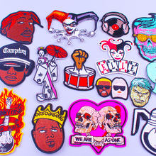 Pulaqi Rock Band Patches For Clothing Fire Guitar Hip Hop Music Patch Badges Hippie Negro Cloth Apparel Stripe