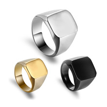 Biker Ring Men Accesories Fashion Stainless Steel Jewelry Gold Silver Black Finger Square Big Width Vintage Signet Male Ring oulai777 signet ring men tainless silver jewelry signet ring men s punk finger fashion hip hop gothic ring men accesories
