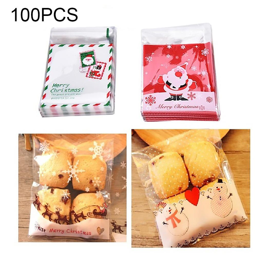100Pcs Self-adhesive Transparent Plastic Bags For Candy Cookie Gift Packaging Bag Christmas Storage Pouch Gift Bags