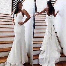 Cheap Sexy Beach Mermaid Wedding Dress Sweep Train Backless Bow Back Spaghetti Straps Bow Knot Wedding Dress Bridal Gown vestido hollow cut insert knot back dress