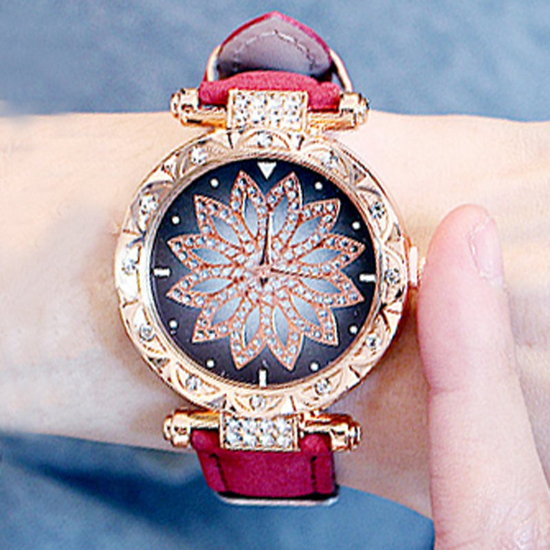 2020 Women Watch Fashion Rotating Dial Starry Sky Watches Ladies Watches Casual Leather Quartz Wristwatch Clock Relogio Feminino