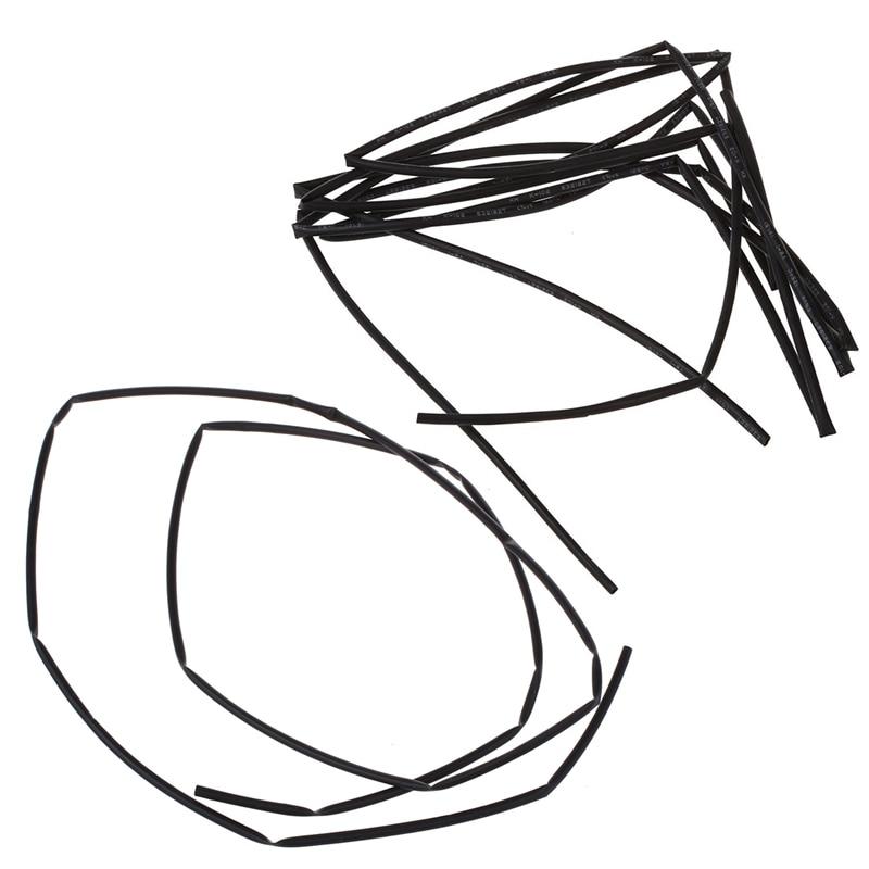 2Pcs Black Dia. Heat Shrink Tubing Shrinking Tube Sleeve Wrap Wire 1M - 1.5Mm & 2Mm