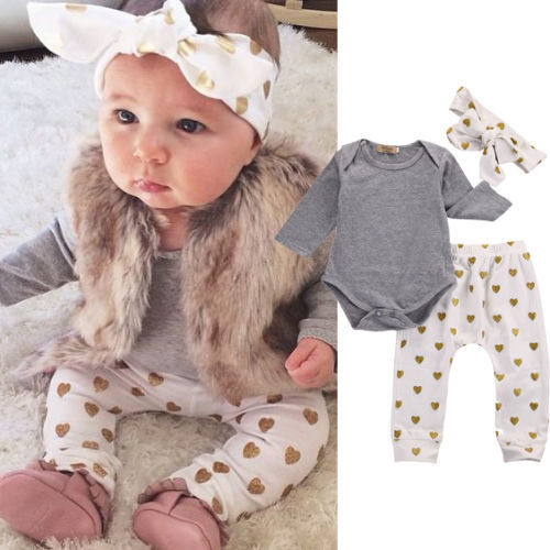 Newborn Baby Girls Clothes Long Sleeve Cotton Romper Tops+Gold LOVES Heart Pant Headband Outfit Toddler Kids Clothing Set 0-24M