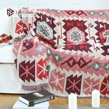 Liv-Esthete 100% Cotton Bohemia Diamond Lattice Blanket Throw Tassel Adult Sofa Bed Sleeping Bag Wrap Knitted