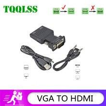 Tqqlss vga para hdmi conversor suporta 1080p resolução adequado para conectar projetor monitor computador portátil dvd lotus raiz