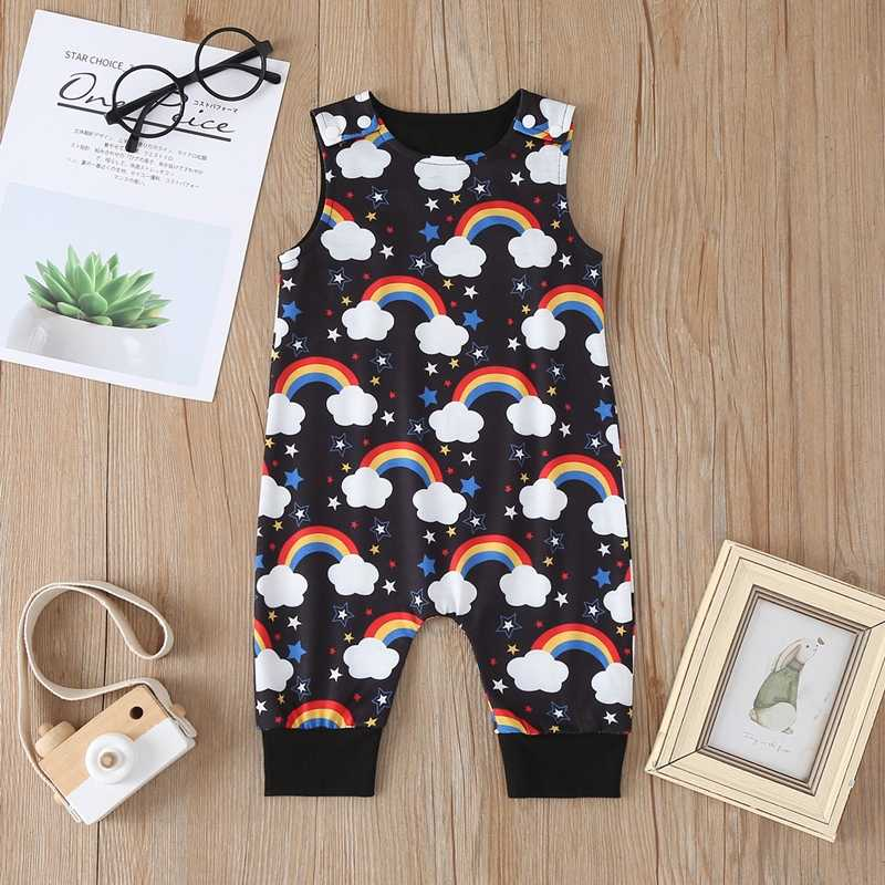 Baru Lahir Bayi Anak-anak Anak-anak Gadis Baju Monyet Pakaian Anak Laki-laki Gadis Rompers Balita Tanpa Lengan Leher Bulat Kapas Giraffe Jumpsuit Playsuit