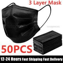 En Stock 10/50 Uds desechable máscara cara máscara negro no tejida 3 capas máscara de boca filtro Anti polvo transpirable protección máscaras de adulto