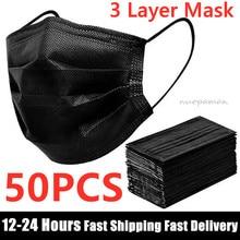 Masque facial jetable noir non tissé 3 couches, filtre Anti-poussière, masques de protection respirants pour adultes, 50 pièces, en Stock